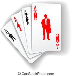 zakenlui, kostuums, kaarten, spelend, middelen