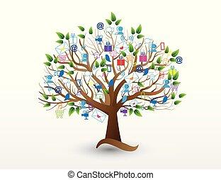 zakenlui, media, iconen, boompje, sociaal, logo