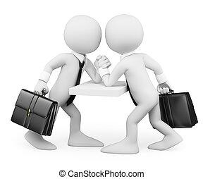 zakenlui, mensen., worstelen, witte , arm, 3d