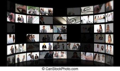 zakenlui, montage, ideeën, phoner, wisselen, vergadering, of