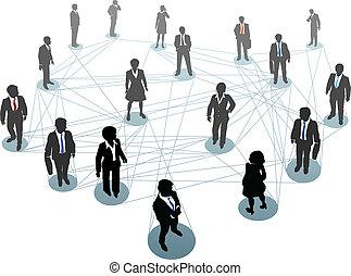 zakenlui, netwerk, verbinding, knopen