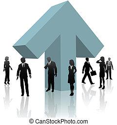 zakenlui, ongeveer, pijl omhoog, team, op, voor, voortgang
