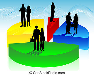 zakenlui, op, cirkeldiagram
