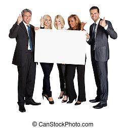 zakenlui, op, duimen, vasthouden, leeg, plank