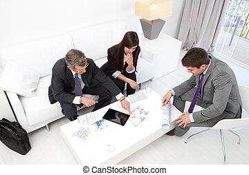 zakenlui, op, financieel, meeting.