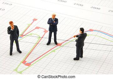 zakenlui, op, tabel, achtergrond