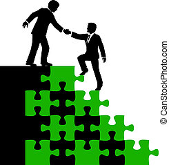 zakenlui, partner, helpen, vinden oplossing