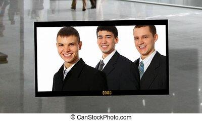 zakenlui, photoalbum, op, zakelijk, zaal, achtergrond, collage