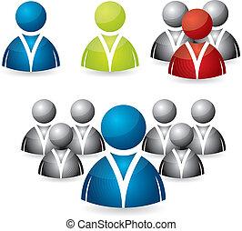 zakenlui, pictogram, set
