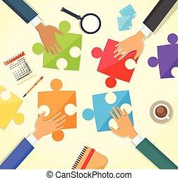 zakenlui, raadsel, handen, bureau, vervaardiging