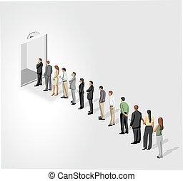 zakenlui, staan in een lijn