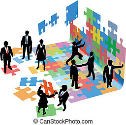 zakenlui, start, problemen, oplossen, bouwen