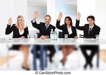 zakenlui, stemming, op, de, vergadering