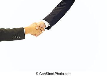 zakenlui, succesvolle , rillend, vrijstaand, hand, achtergrond., witte , vergadering