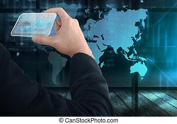 zakenlui, tabel, feitelijk, hand houdend, digitale , kaart