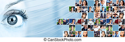 zakenlui, team, collage.