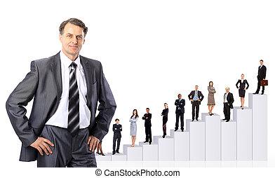 zakenlui, team, en, diagram.