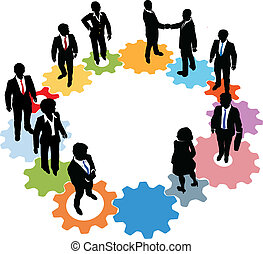 zakenlui, team, technologie, toestellen