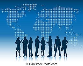 zakenlui, van, de wereld