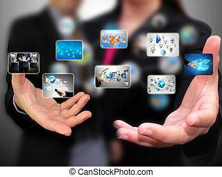 zakenlui, vasthouden, sociaal, media