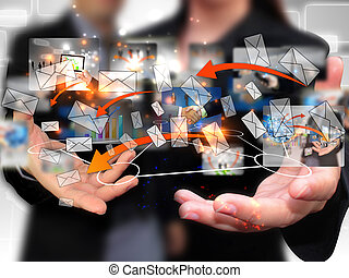 zakenlui, vasthouden, sociaal, netwerk