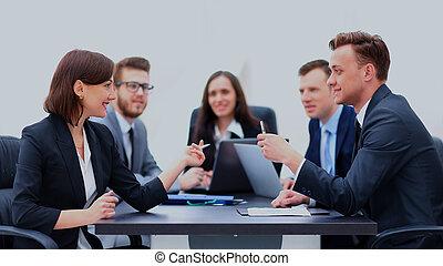 zakenlui, vergadering, communicatie, discussie, aan het werk werkkring, concept.