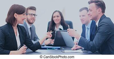 zakenlui, vergadering, communicatie, discussie, aan het werk werkkring, concept