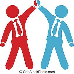 zakenlui, vieren, delen, overeenkomst, succes