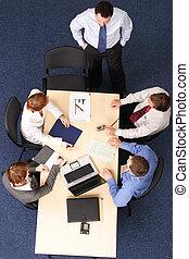 zakenlui, -, vijf, brainstorming, vergadering