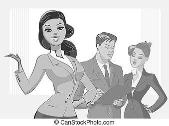 zakenlui, vrijstaand, achtergrond, meeting., witte