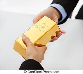 zakenlui, wisselen, gouden, bar