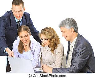 zakenlui, zittende , op, een, collectief, vergadering, werkende , in, draagbare computer