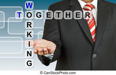 zakenman, aan het werk aaneen, bewoording