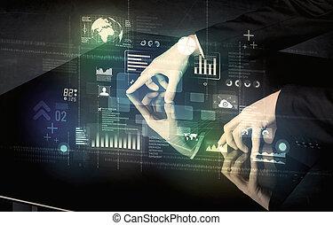 zakenman, aandoenlijk, interactief, moderne, bureau, met, technologie beelden