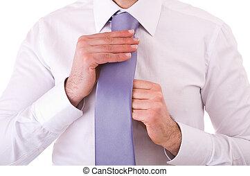 zakenman, aanpassen, zijn, tie.
