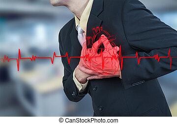 zakenman, aanval, hebben, hart