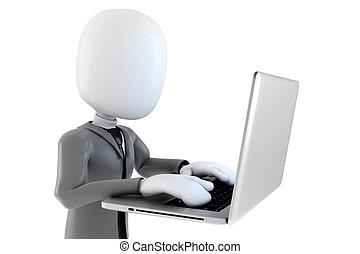 zakenman, achtergrond, 3d, man, witte , draagbare computer