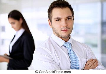 zakenman, achtergrond, kantoor, het glimlachen, collega's