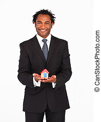 zakenman, afro-amerikaan, oplossing, huisvesting, het...