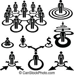 zakenman, arbeidskrachten, handel team