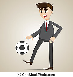 zakenman, bal, spotprent, kaatsen