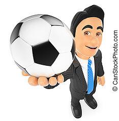 zakenman, bal, voetbal, 3d