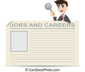 zakenman, banen, grondig, carrières, spotprent