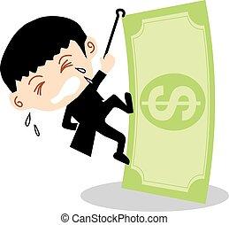 zakenman, bankbiljet., beklimming