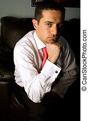 zakenman, bankstel