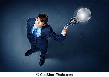 zakenman, beeld, hoogste mening