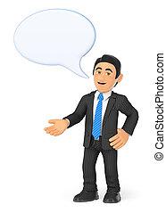 zakenman, bel, het spreken, 3d
