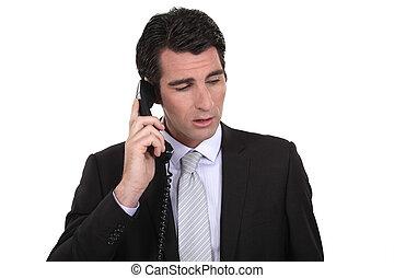 zakenman, belangrijk, roepen, vervaardiging