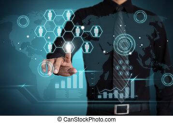 zakenman, beroeren, sociaal, netwerk, pictogram, met, handel concept