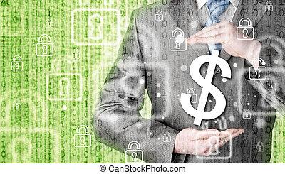 zakenman, beschermen, dollar symbool